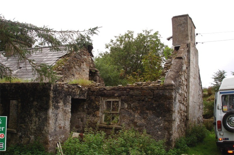 Before restoration work on a traditional stone cottage by Pat Harkin Stonework & Restorations, Donegal, Ireland